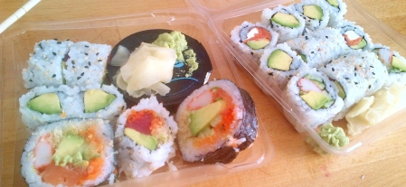 A few Rolls from Sushi Shop; Spicy Tuna, Cali, Avocado, and..I can't remember.